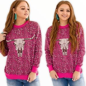 Crazy Train NWT Cow Skull Cheetah Pink Sweater